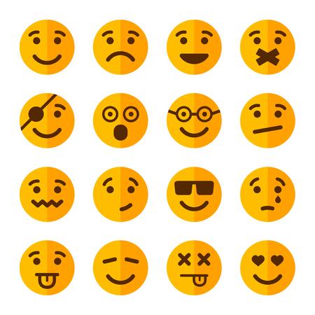carita feliz caricatura: Plano Estilo Sonrisa Emotion Icons Set. Ilustración vectorial Vectores