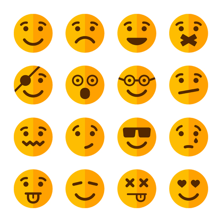 volti: Stile Piatto Sorriso Emozione Set di icone. Illustrazione vettoriale