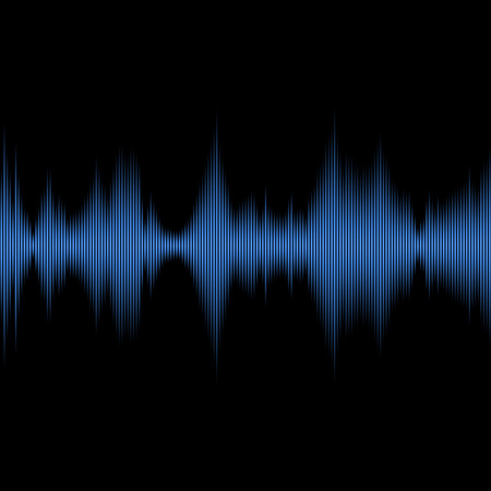blue waves vector: Blue Sound Waves Oscillating Equalizer on Black Background. Vector illustration