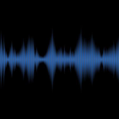 Blue Sound Waves Oscillating Equalizer on Black Background. Vector illustration