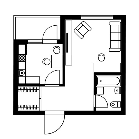 Floor Plan of a House with Furniture. Vector illustration Çizim