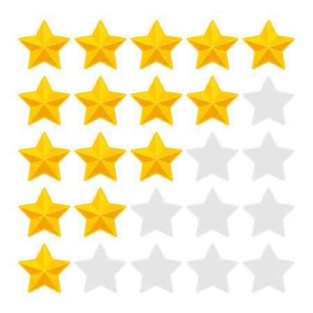 rating: Five Rating Stars on White Background. Vector illustration