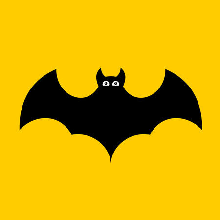Cartoon Bat. on Orange Background. Flat design. Vector illustration