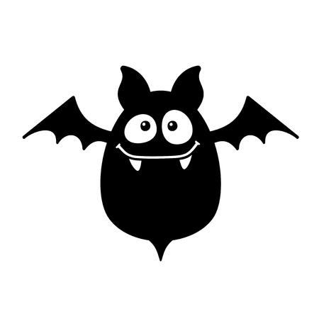 흰색 배경에 박쥐 웃는 만화 스타일. 벡터 일러스트 레이 션