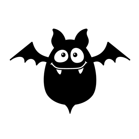 bat animal: Cartoon Style Smiling Bat on White Background. Vector illustration