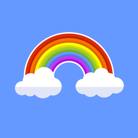 Rainbow With Clouds. Flat Style Icon. Vector illustration