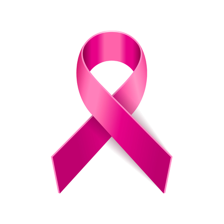 Breast Cancer Pink Ribbon on White Background. Vector illustration