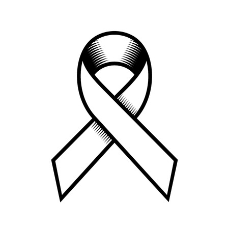 cancer ribbon: Breast Cancer Retro Style Ribbon on White Background. Vector illustration