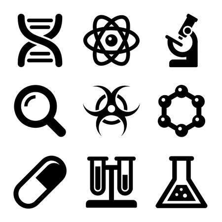 whote: Chemical Science Icons Set on Whote Background. Vector illustration