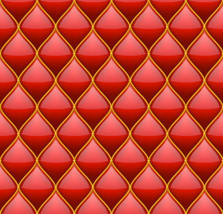quilted fabric: Red with Gold Quilted Leather Seamless Background. Vector illustration