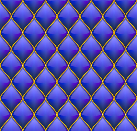 quilted: Blue with Gold Quilted Leather Seamless Background. Vector illustration Illustration