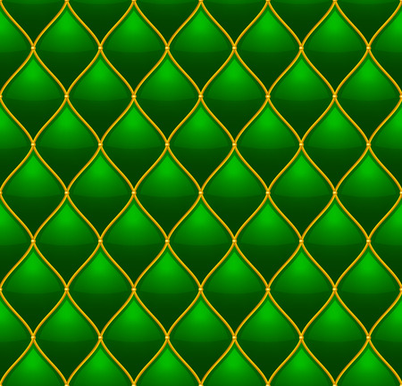 quilted: Green with Gold Quilted Leather Seamless Background. Vector illustration