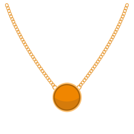 necklaces: Golden Chain with Gold Blank Precious Necklaces. Vector illustration