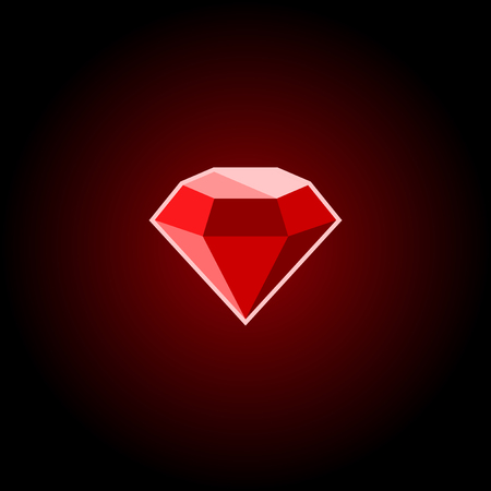 Red Ruby Gemstone Icon on a Black Background. Vector illustration
