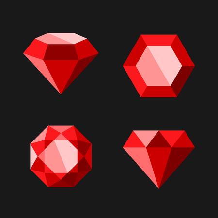 레드 다이아몬드 나 루비 벡터 아이콘을 설정합니다. 쉬운 지우기 모양입니다. 벡터.