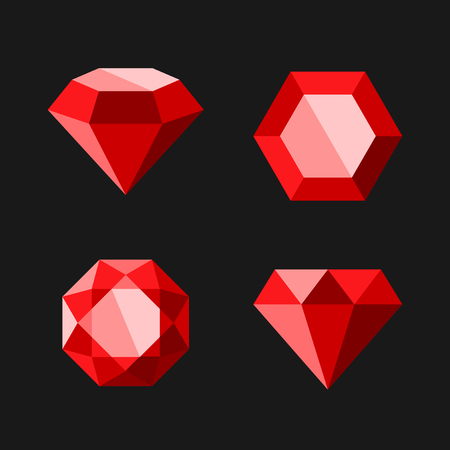 Red Diamond or Ruby Vector Icons Set. Easy Clear Shape. Vector.