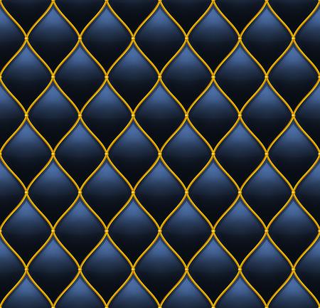 quilted: Deep Dark Blue with Gold Quilted Leather Seamless Background. Vector illustration