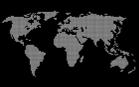 Dotted World Map. White on Black Background. Vector illustration
