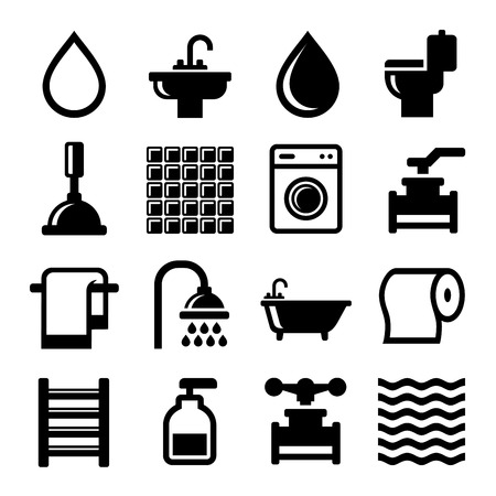 unisex: Bathroom and Water Icons Set. Vector illustration