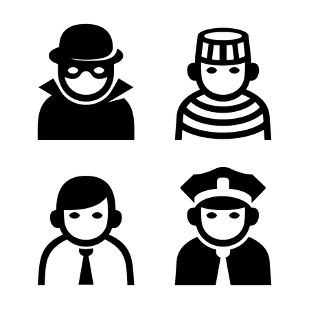 police uniform: Criminal, Police and Prison Userpic Icons Set. Vector illustration