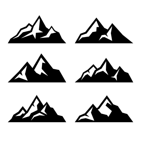 snow capped mountains: Mountain Icons Set on White Background. Vector illustration