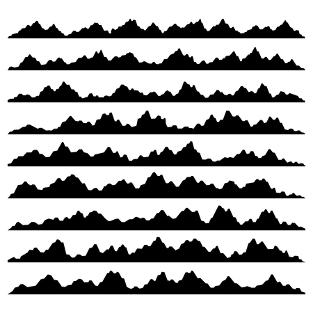 overlook: Mountain Panoramic Silhouettes Set on White Background. Vector illustration