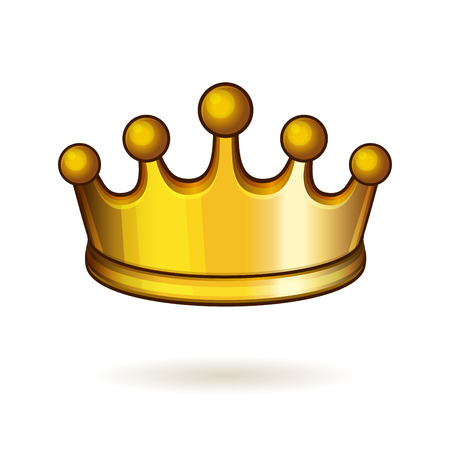 Golden Shiny Crown on White Background. Vector