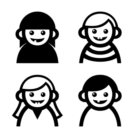 baby cry: Baby and Children Faces Icons Set. Vector illustration