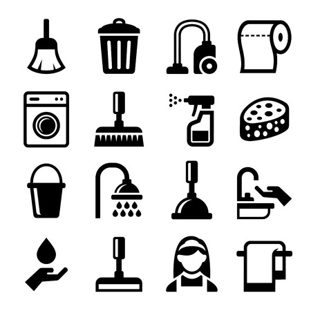 vacuum cleaning: Cleaning Icons Set on White Background. Vector illustration