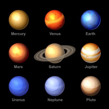 solar: Glossy Color Planets of Solar System Icons. Vector. Illustration