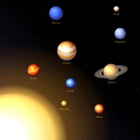 system: Solar System with Sun and Planets on Dark Background. Vector