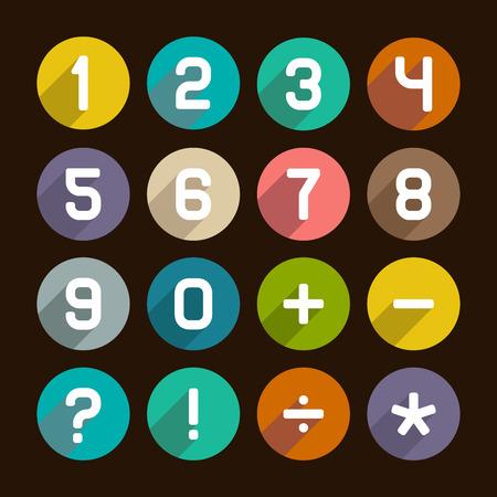 web 2 0: Flat Numbers Set on Dark Background. Vector