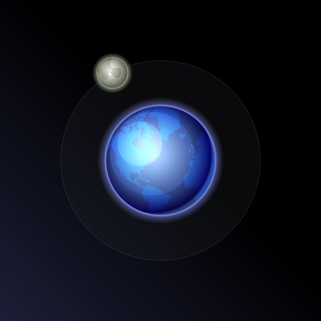heaven and earth: Earth and Moon on the Night Sky Background. Vector illustration