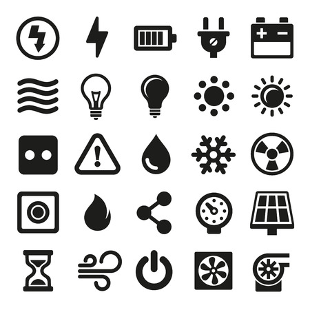 dangers: Electric Icons Set on White Background. Vector illustration Illustration