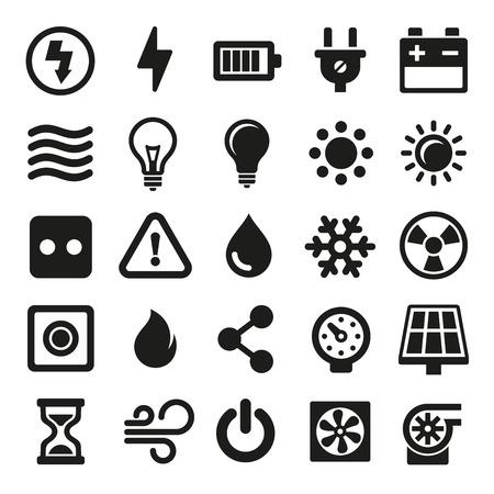 energia electrica: Iconos Conjunto eléctrico en el fondo blanco. ilustración vectorial