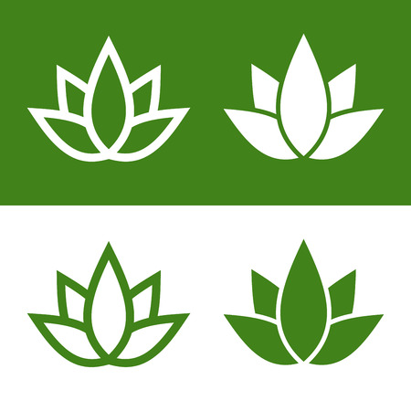 lotus petal: Green Lotus Plant Icon Set Logo. Vector Illustration