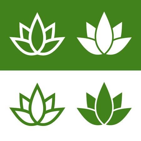 lotus pattern: Green Lotus Plant Icon Set Logo. Vector Illustration