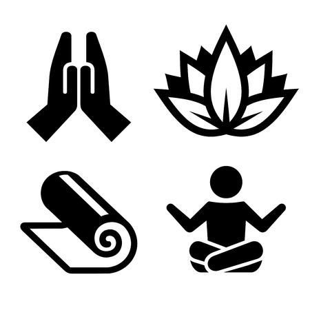 �cones da ioga Ajuste para Spa Center. ilustração vetorial