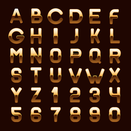 royal rich style: Golden Metallic Shiny ABC Letters and Numbers Isolated on Dark Background. Vector illustration Illustration