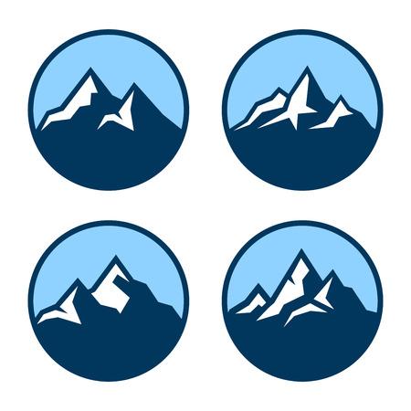 Mountain in Circle Logo Design Elements. Vector illustration 일러스트