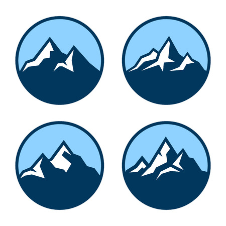 Mountain in Circle Logo Design Elements. Vector illustration Vettoriali