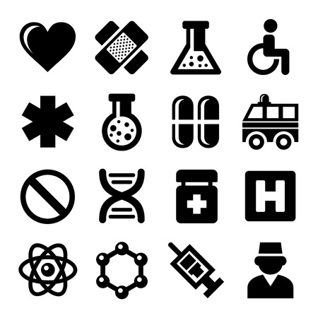 heart health: Medic Icons Set on White Background. Vector illustration