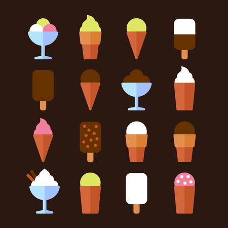 souffle: Ice Cream Icons Set in Flat Style. Vector illustration
