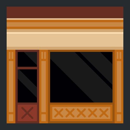 facade building: Clothes Store Building Facade in Flat Style. Vector illustration