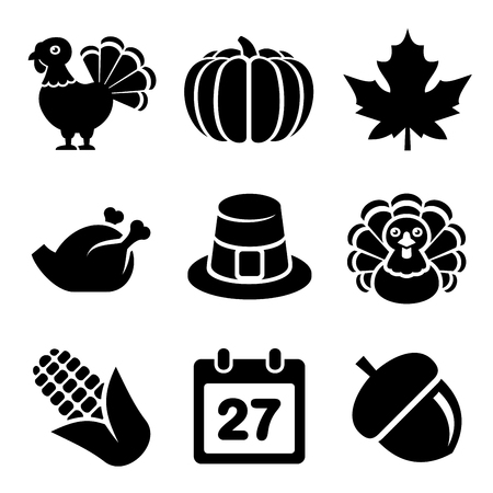 icon collection: Thanksgivin Icons Set Isolated on White Background.