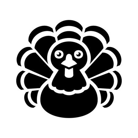 gobble: Turkey Thanksgiving Icon on White Background.