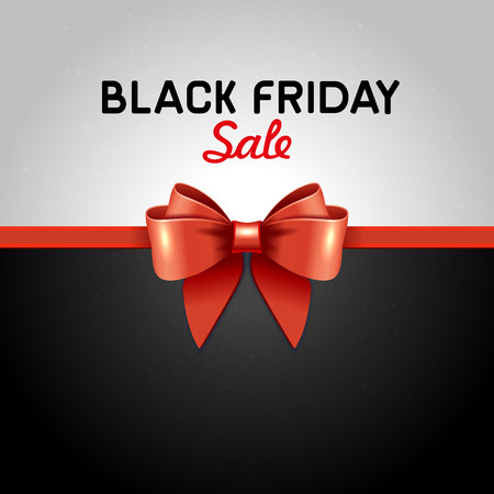 shopping bag: Black Friday Poster Sale with Ribbon and Bow Knot.  Illustration