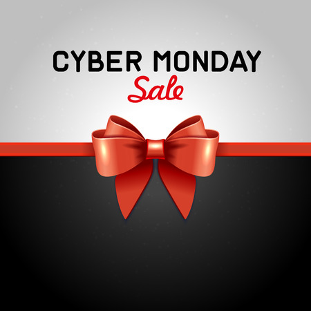Cyber Monday Sale design poster with Ribbon and Bow Knot.