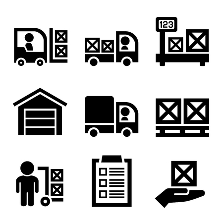 Warehouse Storage and Logistic Icons Set. Vector illustration