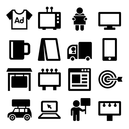 mouth screen: Advertisement Icons Set on White Background.  Illustration